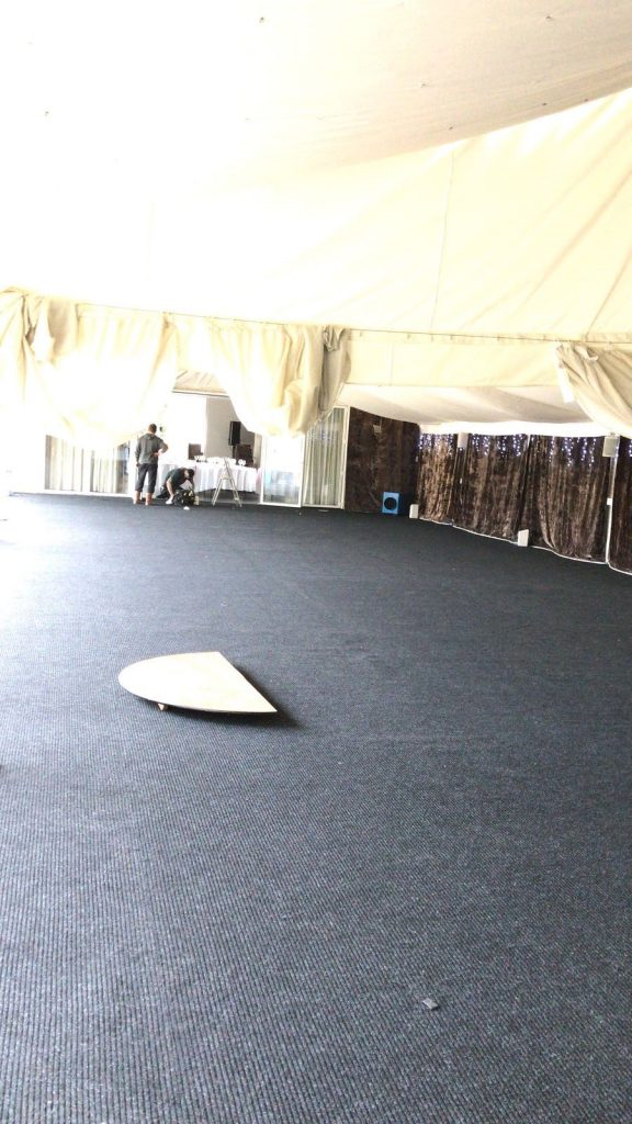 Wedding Reception - laying carpet